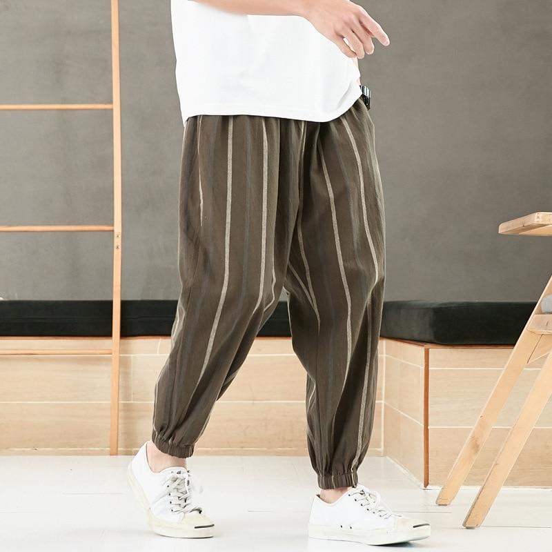 Брюки мужские хлопково-льняные в полоску, свободные укороченные штаны в китайском стиле, молодежные, большие размеры, лето 2021