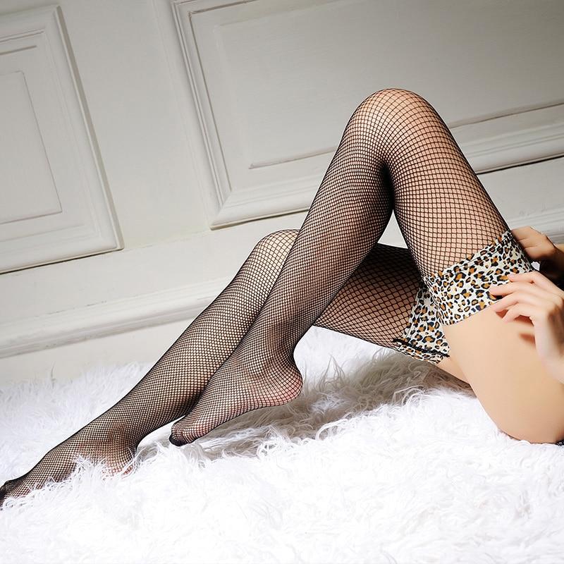 Medias sexis de Red Sheer Lace Top Bandage Sexy Medias doradas altas calcetas para mujer