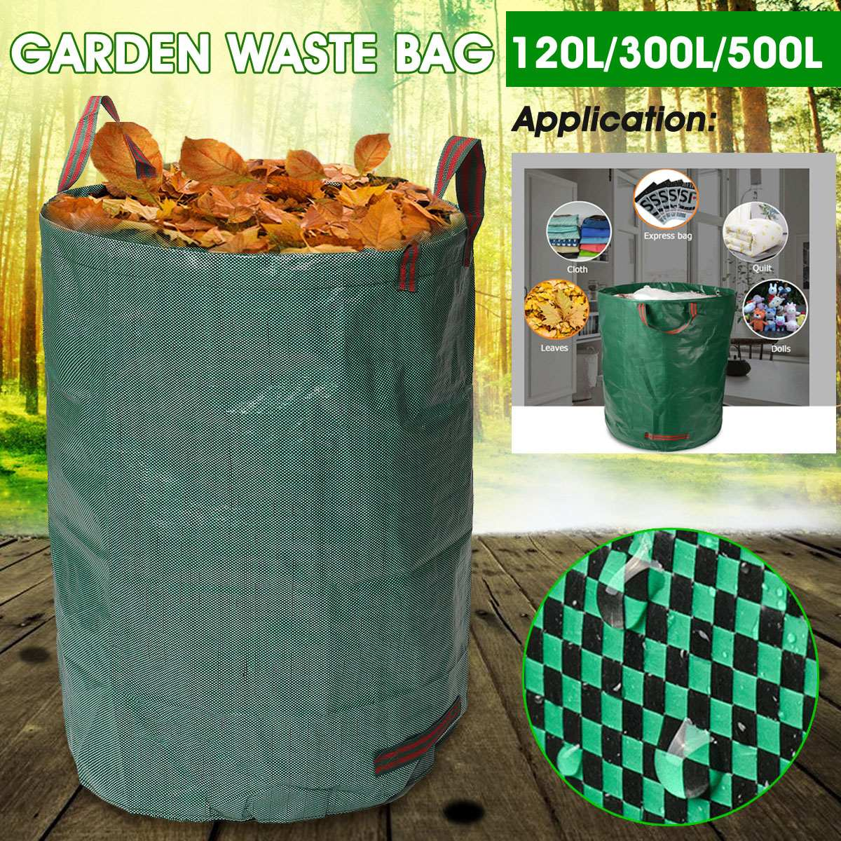 120l/300l/500l resíduos do jardim sacos recusar lixo grama grande titular saco caso saco resistente bin casa brinquedos armazenamento de roupas quintal