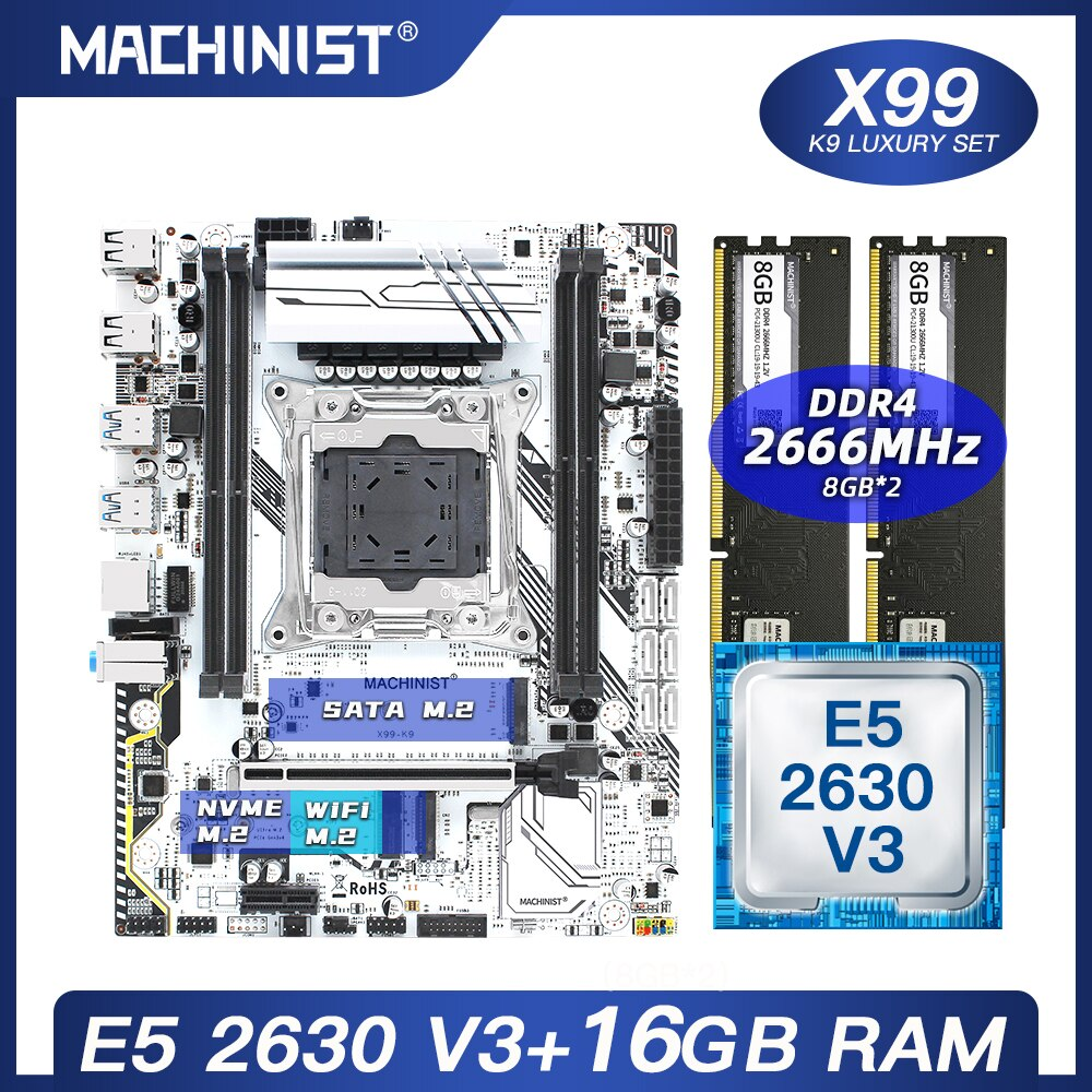 X99 اللوحة LGA 2011-3 مجموعة عدة مع إنتل سيون E5 2630 V3 المعالج DDR4 16 جيجابايت (2*8 جيجابايت) 2666 ميجا هرتز RAM M-ATX NVME M.2 SSD X99-K9