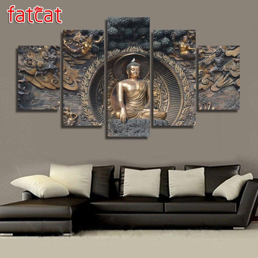 FATCAT 5 Panel Buddha Religion icon Diy Diamond Painting Full Square Round Drill Diamond Embroidery Sale Home Decor AE1063