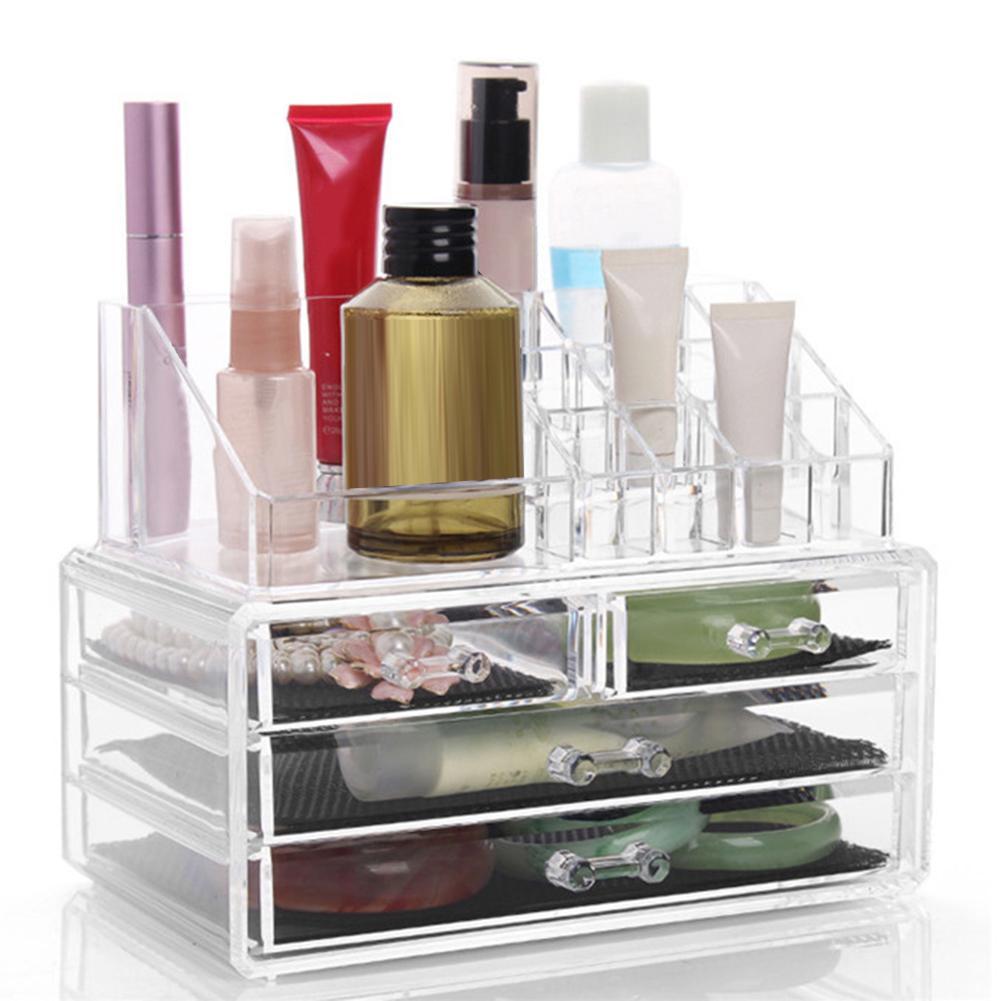 Organizador de maquillaje de escritorio, Caja de almacenamiento con cajones para cosméticos,...