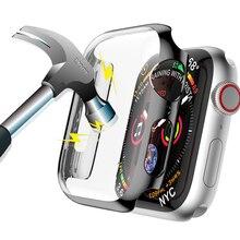 Housse étui pour Apple Watch 5 4 3 2 1 étui 44mm 40mm iwatch 5 bande 42mm 38mm pare-chocs couverture écran protecteur PC placage étanche