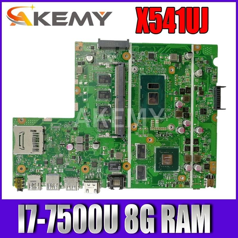 Akemy X541UJ материнская плата для ASUS X541UQK X541UVK X541Uj A541U F541Uj Laotop материнская плата I7-7500U 8G RAM протестирована Бесплатная доставка
