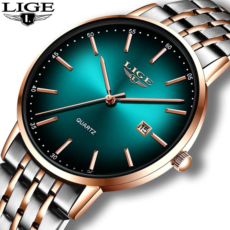 LIGE Women Watches Top Brand Luxury Gold Quartz Watch Ladies  Waterproof Watch For Women Full Steel Slim Green Dial Date Clocks enlarge