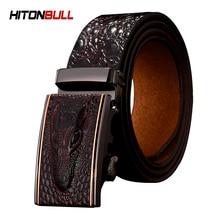HITONBULL Automatic Belt Genuine Leather Belts For Man Crocodile Pattern Designer Fashion Strap Casu