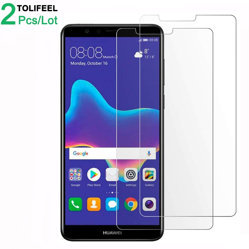 2Pcs Tempered Glass For Huawei Y9 2018 Screen Protector 9H 2.5D Phone On Film Protective Glass For H