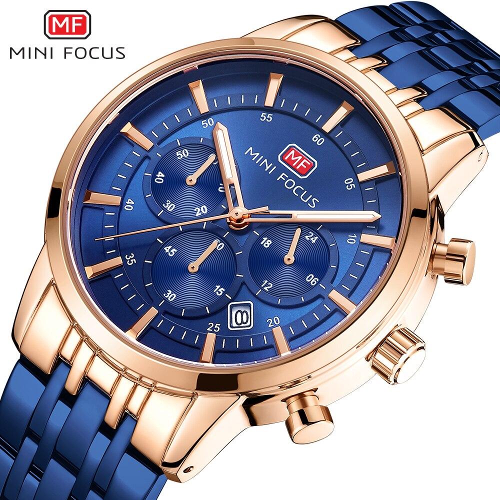 ساعة يد رجالية كوارتز ، ماركة فاخرة ، تركيز صغير ، رياضية ، فولاذ ، كرونوغراف ، مقاومة للماء ، ذكر