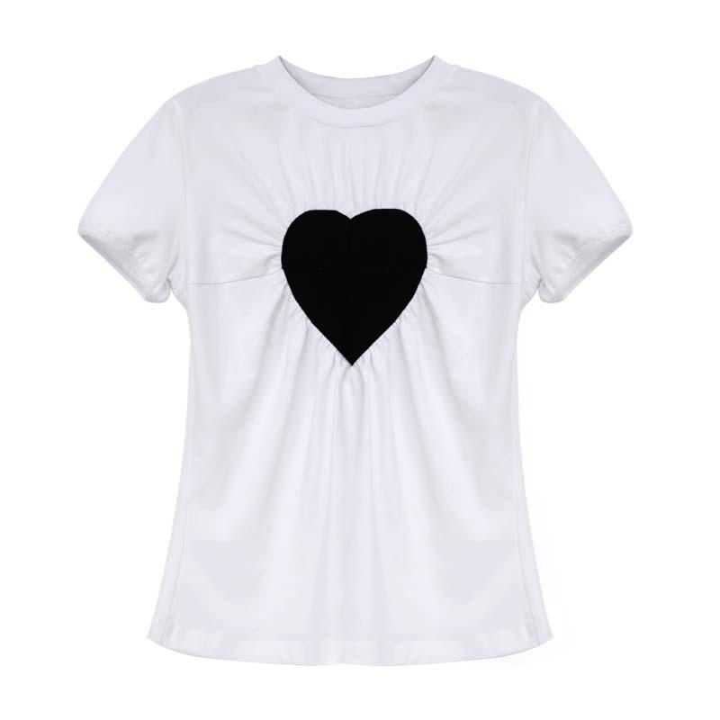 صيف جديد المرأة قصيرة الأكمام تي شيرت 2021 موضة القطن الخالص ضخ التجاعيد الحب قاع قميص عالية الجودة لباس أبيض