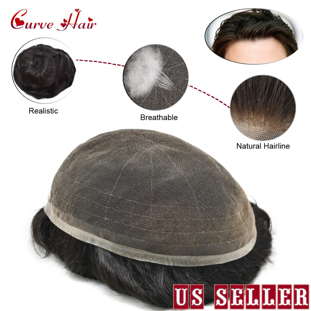 Undetectable French Lace Hair Replacement System 120% Density Full Lace Toupee