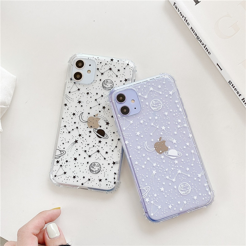 Simple planeta Star casos de teléfono para iPhone 11 11Pro X XR XS MAX 7 8 Plus suave transparente TPU carcasa trasera de silicona caso