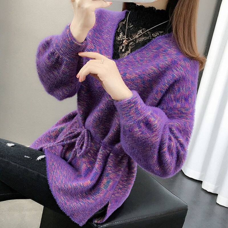 Mink like sweater women's autumn / winter 2020 new style stitching lace bottomed enlarge