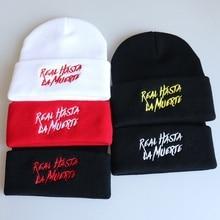 WZCX Real Hasta La Muerte Embroidery Hip Hop Unisex Beanie Casual Tide Elasticity Knitting Letter Winter Hat Adult Cap