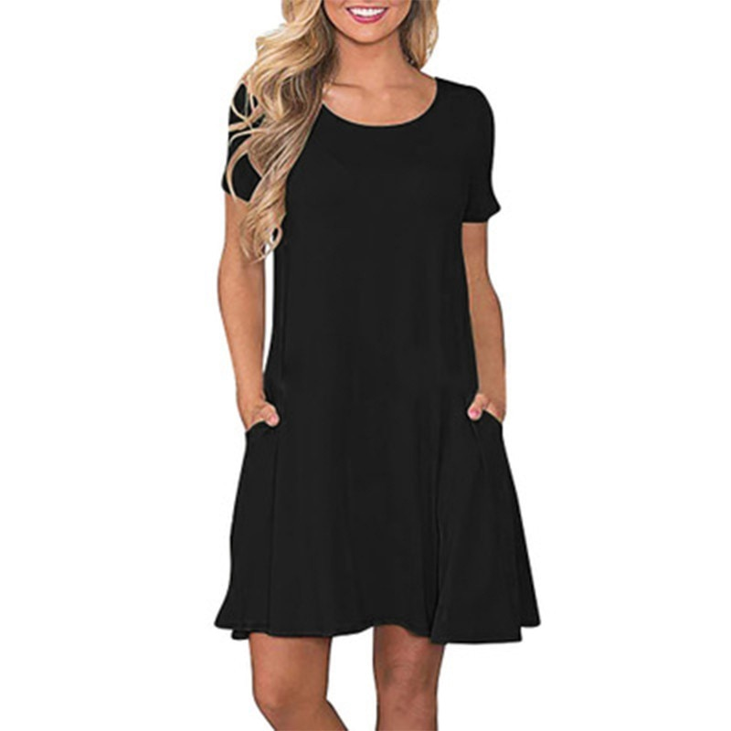 ROPALIA Fashion Pocket Short Sleeve Sleepdress Female Cozy Loose Night Dress Soft Casual Women Round Neck Sleepwear