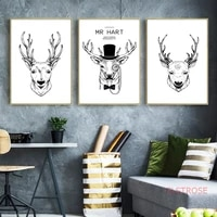 nordic black and white retro poster simple elk canvas painting animals art wall pictures for living room modern home decoration