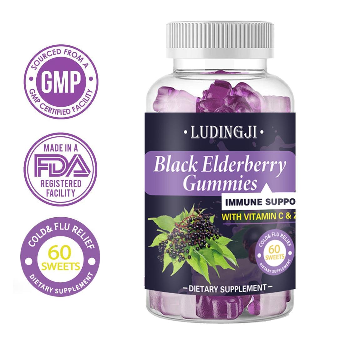 Sambucus Elderberry Gummies Black Elderberry Sweets with Vitamin C and Zinc Immune System Booster Supplements