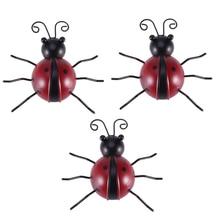 3 Pcs Metal Ladybug Wall Hanging Outdoor Garden Decorative Figurine Wall Art Red 10cm Ladybug Ornaments HFing