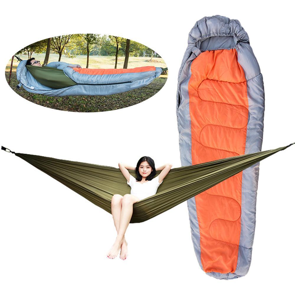 Outdoor Camping Sleeping Bag Set Muti-functional Detachable Envelope hooded Hammock Sleeping Lazy Bag for Camping Travelling