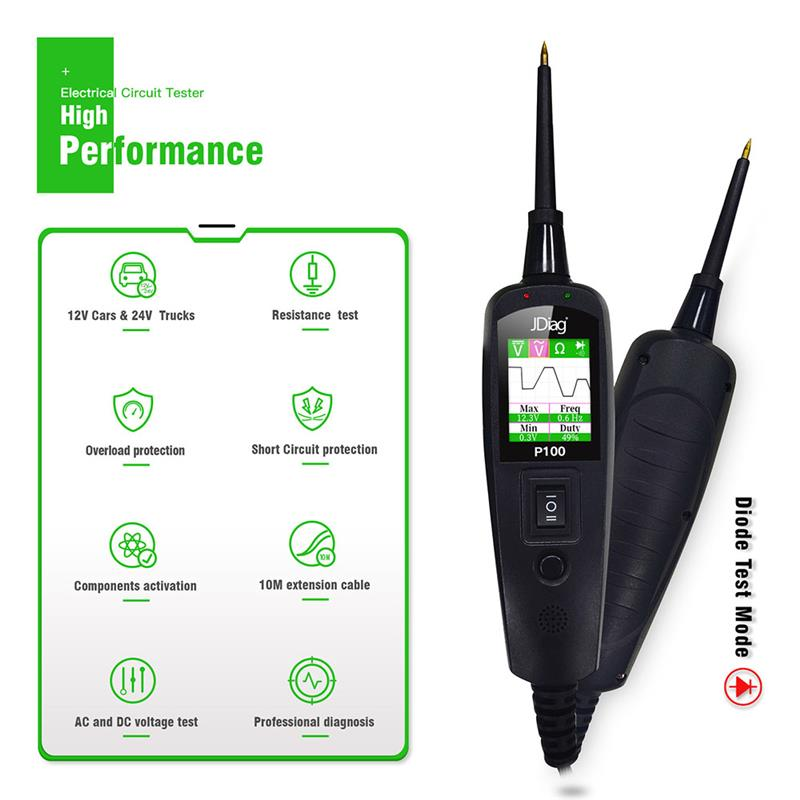 JDiag P100 Electrical Circuit System Tester Multi-Lingual Digital Voltage Test Pen For Trailer Truck Ship Motorcycle