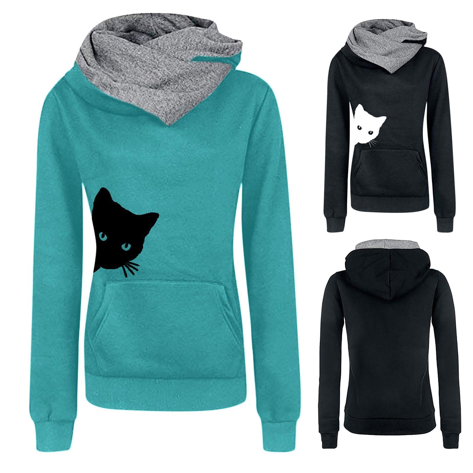 Sudadera con capucha de manga corta para mujer, con estampado de gato,...