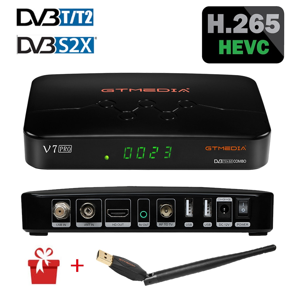 GTMEDIA V7 برو استقبال الأقمار الصناعية استقبال الأقمار الصناعية FHD DVB-S2 T2 كومبو H.265 الرئيسية 10 CCAM CA بطاقة الأسهم في إيطاليا إسبانيا