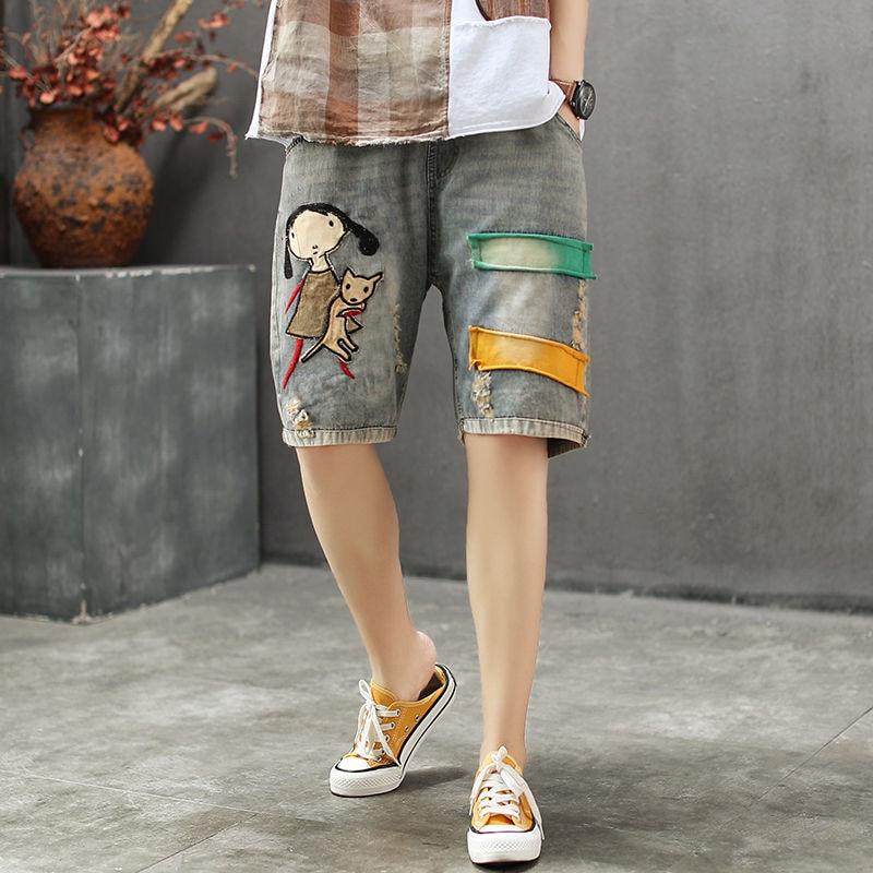 صيف جديد الفنون نمط المرأة مرونة الخصر Vintage الدنيم السراويل الجينز Feminino خليط التطريز ممزق جينز حجم كبير S839
