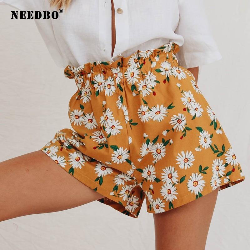 NEEDBO Summer Shorts Women High Waist Print Floral Beach New Style Sport Shorts for Women Ladies Booty Shorts Mujer Pantalones