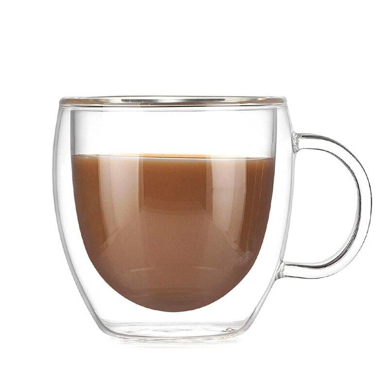 Vaso de vidrio de doble capa de 200ML taza de café de alto borosilicato con taza de vidrio Espresso de mano