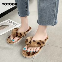 hot women warm indoor plush flip flops woman leopard slippers furry sandals flat home slippers winter female cotton house shoes
