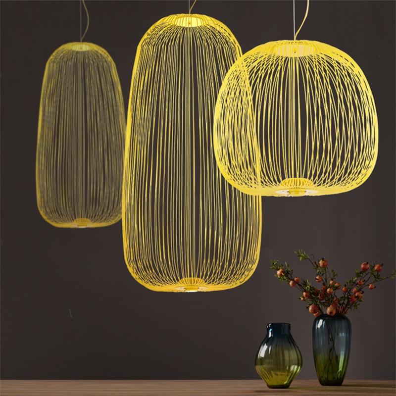 Современный подвесной светильник с птичьей клеткой, скандинавские настенные спицы, светодиодные подвесные лампы, лофт, столовая, кухня, дом...