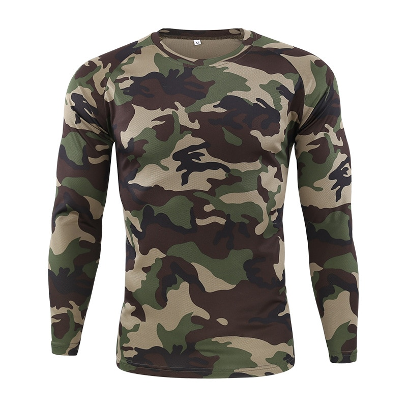 Tactical Military Camouflage T Shirt Male Breathable Quick Dry US Army Combat Full Sleeve Outwear T-shirt for Men Fishing