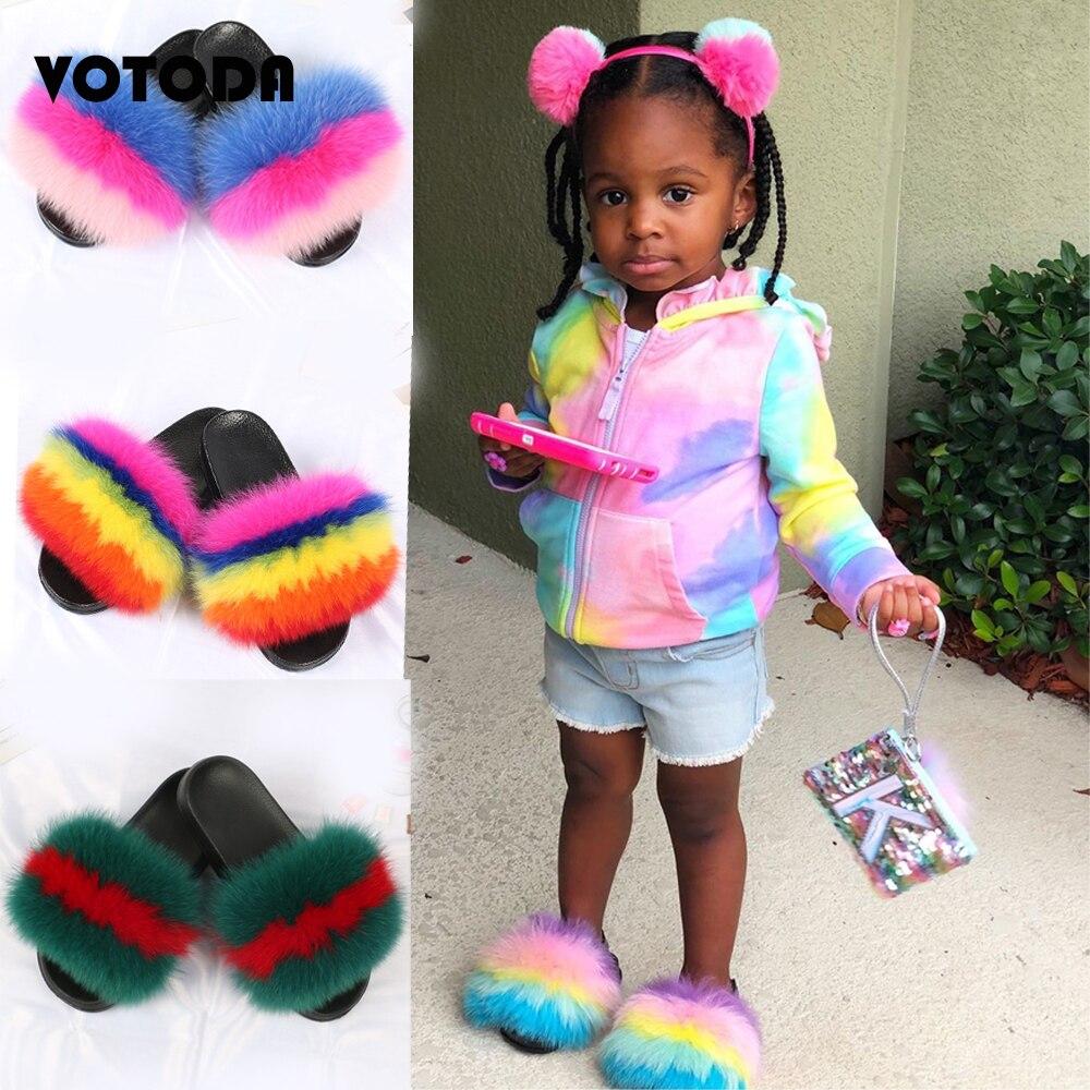 Kids Fur Slippers Real Fox Slides Child Raccoon Home Flop Flip Boy Furry Flat Sandals girls Cute Flu