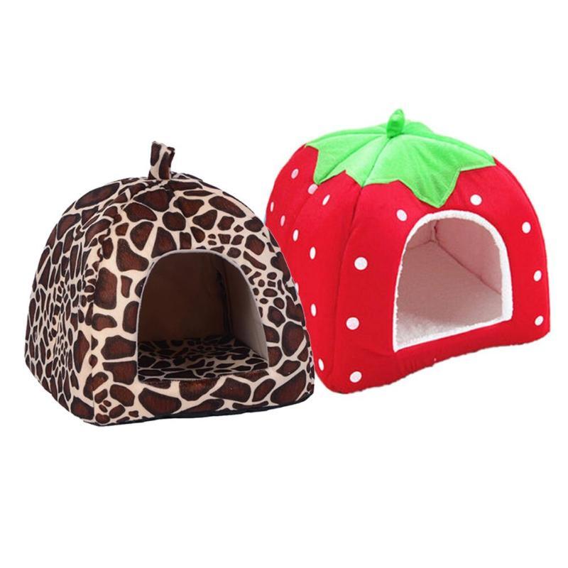 Cute Foldable Cat Dog House Warm Soft Winter Cotton Pet Dog Cat Bed Kennel Fleece Cozy Nest For Cat Dogs S-XXL Pet Supplies