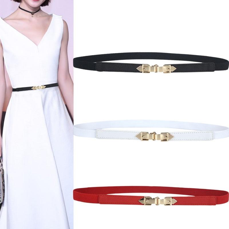 Black Alloy Buckle Thin Elastic Waistband Gold Buckles Women Skinny Belt Ladies Dress Cummerbund PU