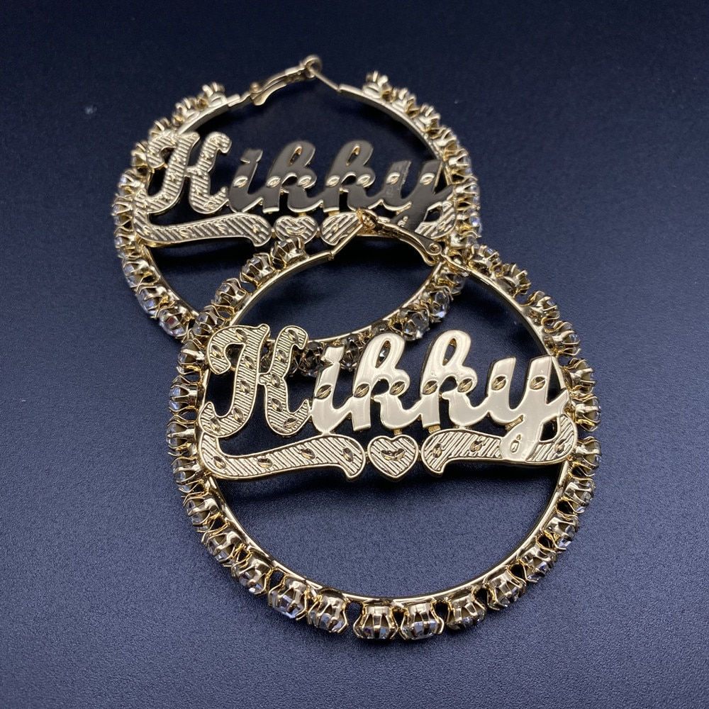 Shine Bloom New Design Name Customized Hoop Earrings. Bling Real Gold Plated Initial Trendy Personal Jewelry For Women