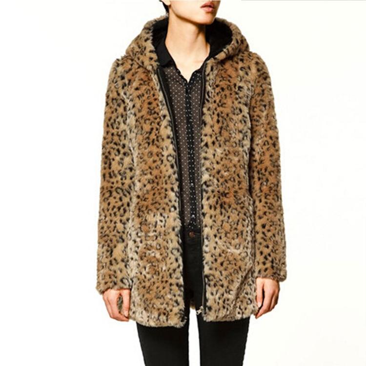 Женские зимние куртки из искусственного меха, суперплотная куртка средней длины с капюшоном и леопардовым принтом, осенние модные пальто, ...