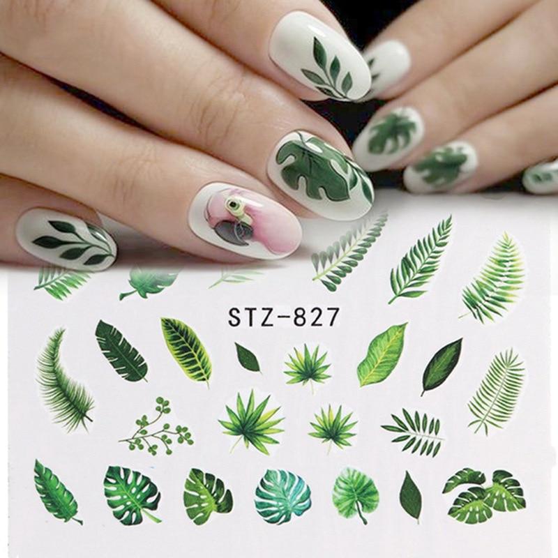 21 Designs Nail Sticker Set Jungle Green Leaves Flower Leaf Slider DIY Nail Art Water Transfer Decal Manicure Tool
