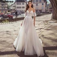 eightree charming off shoulder a line wedding dresses v neck lace appliques country bride wedding gowns vestido de novia