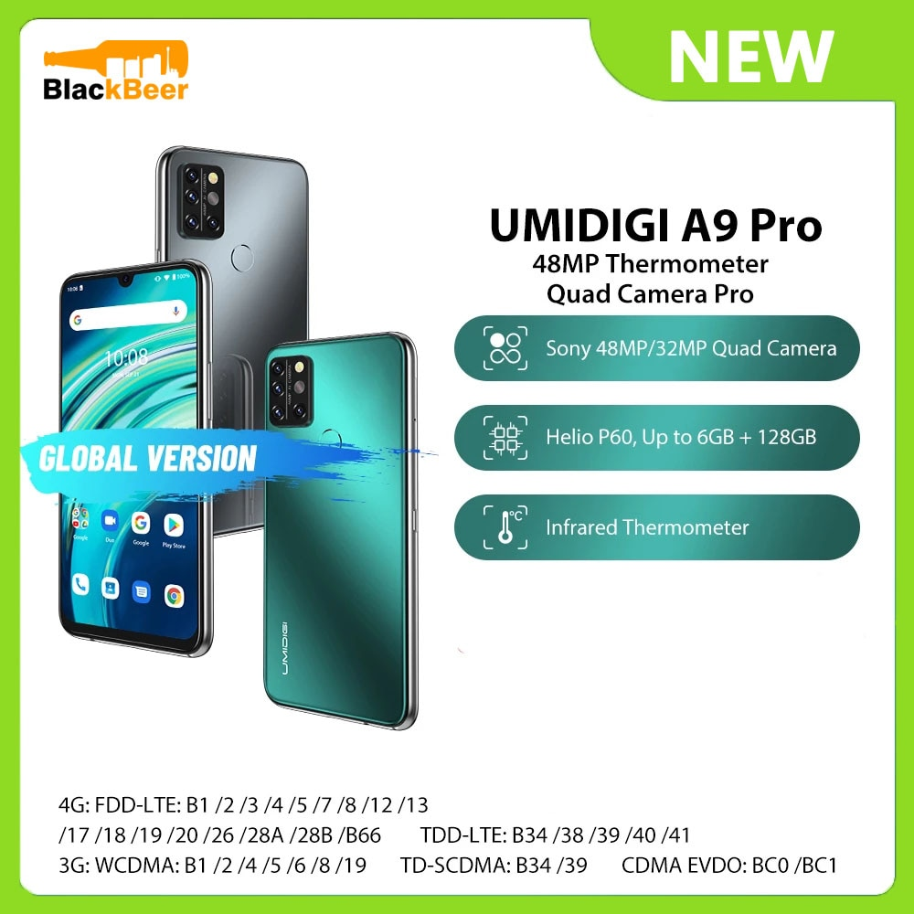 UMIDIGI A9 Pro 6.3 Inch SmartPhone 6GB 128GB Helio P60 Mobile Phone Android 10 Dual 4G Cellphone 48MP Rear Camera Global Version