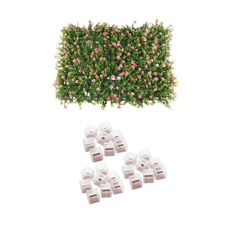 1 قطعة 60X40Cm العشب المرج الاصطناعي ألواح للحائط & 24 قطعة كرسي حافظات الأرضية الساق قبعات الساق