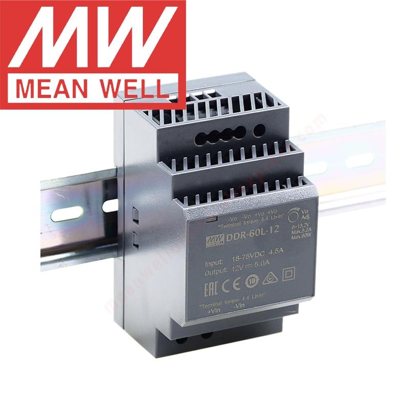 الأصلي يعني جيدا DDR سلسلة 60W الدين السكك الحديدية نوع DC-DC تحويل meanwell 9 ~ 36Vdc/18 ~ 75Vdc المدخلات DDR-60G/L-5/12/15/24