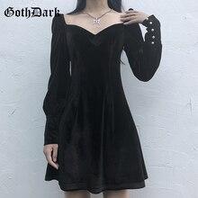 Goth foncé manches longues gothique Vintage robes féminines printemps 2020 Grunge Punk Egirl Emo esthétique plissé Y2K Mini robe Harajuku