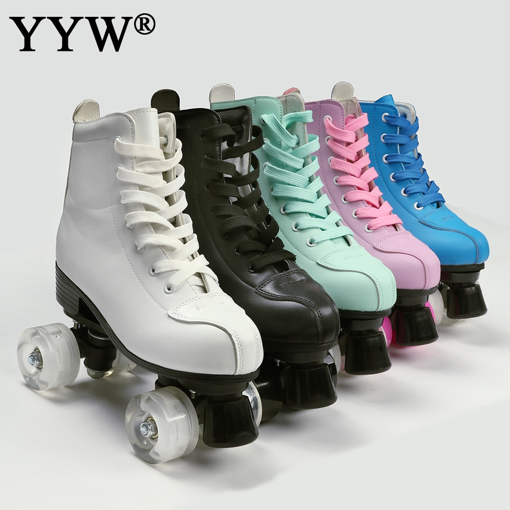 2021 Women Men 5 Choice Pu Microfiber Roller Skates Skating Shoes Sliding Quad Sneakers Begin Europe Size 2 Row  4 Wheels