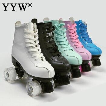 2021 femmes hommes 5 choix Pu microfibre patins à roulettes chaussures de patinage coulissant Quad baskets commencer Europe taille 2 rangée adulte 4 roues