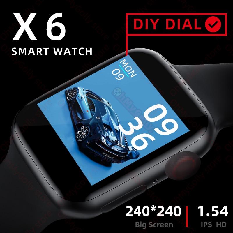 X6 smartwatch 2020 series 6 iwo relógio inteligente masculino monitor de freqüência cardíaca esporte atividade rastreador relogio feminino relógios pk iwo12 amazfit