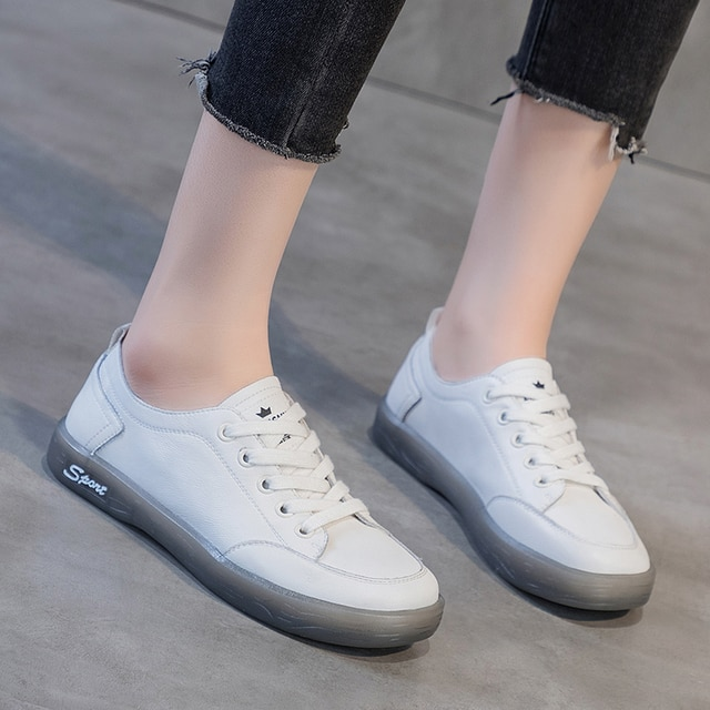 AIYUQI Sneakers Shoes women Genuine Leather Casual All-match White Shoes Women Flat Large Size Non-slip Loafers For Girls 2