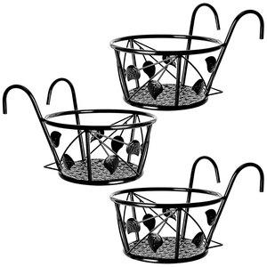 Plant Stand, 3 Pack Hanging Plant Iron Racks Flower Pot Holders, Iron Art Hanging Baskets Flower Pot Holder Hanger,Black