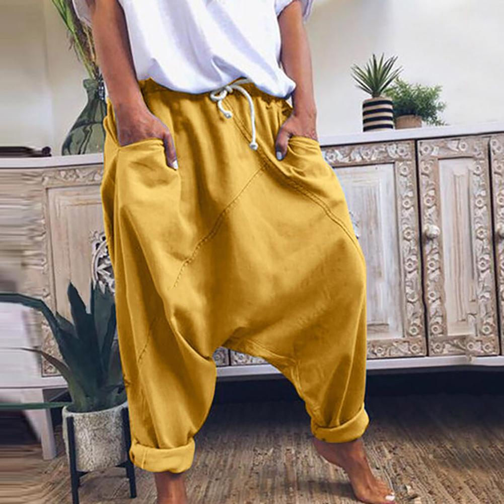 Women Casual Drawstring Pockets Drop Crotch Baggy Long Trousers Harem Pants