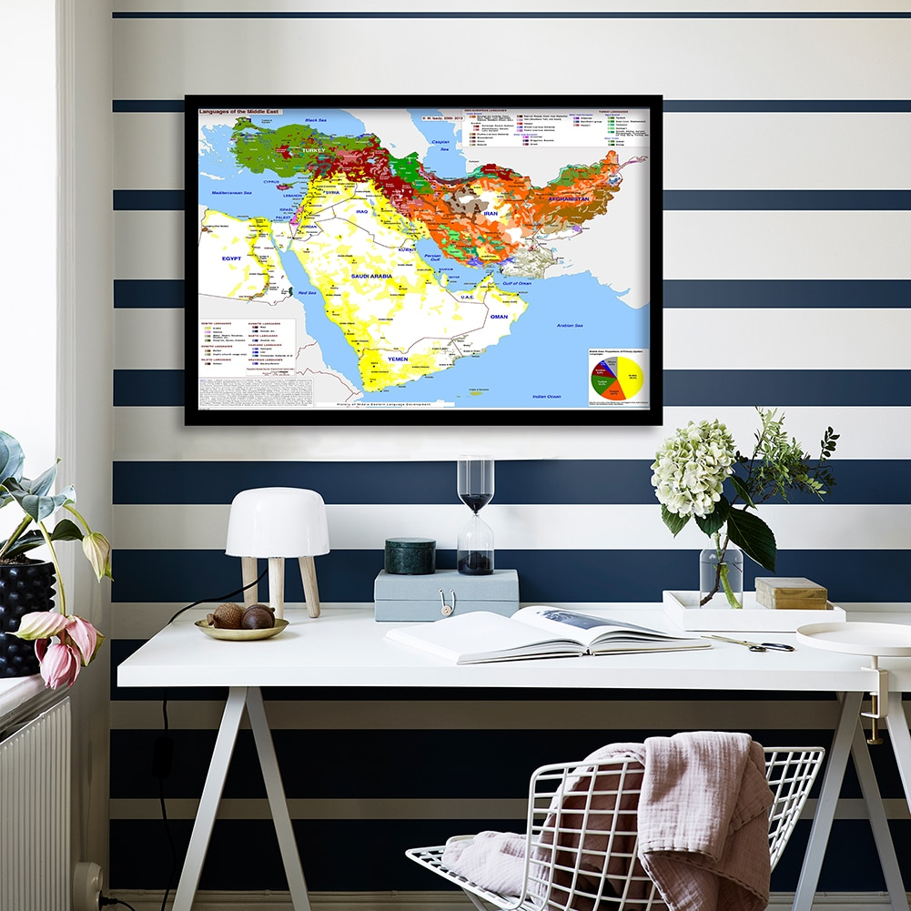 2006-2015 Language Of The Middle East Map 90*60cm Wall Poster Canvas Painting Living Room Home Decoration School Supplies