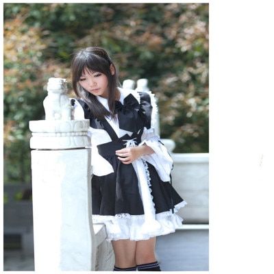 Women Maid Outfit Anime Long Dress Black and White Apron Dress Lolita Dresses Cosplay Costume Anime Clothes